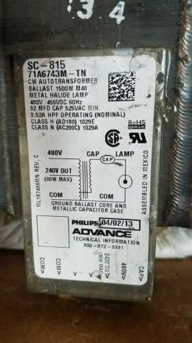Phillips 1500 Watt 480 Volt Metal Halide Ballast Core & Coil for Stadium Lights