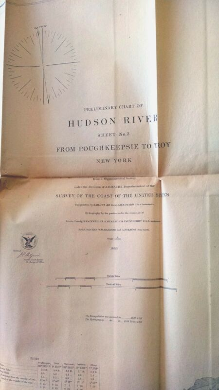 1863 US Coast Survey - Hudson River Sheet No. 3 from Poughkeepsie to Troy New