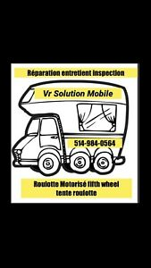 Inspection réparation roulotte fifth wheel tente roulotte