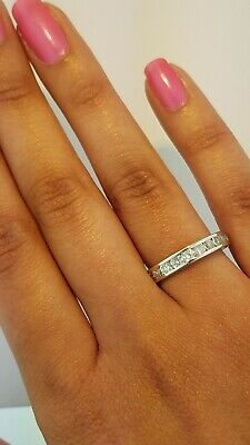 10k White Gold Wedding Bands - 10k Solid White Gold Diamond Eternity Band Stackable Ring Endless Wedding Band
