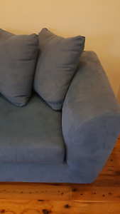 Lounge Couch Sofa Blue Microsuede With Cushions Coogee Eastern Suburbs Preview