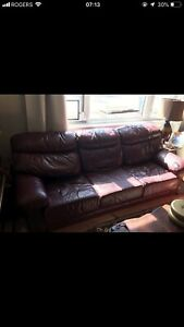Burgundy's leather couch