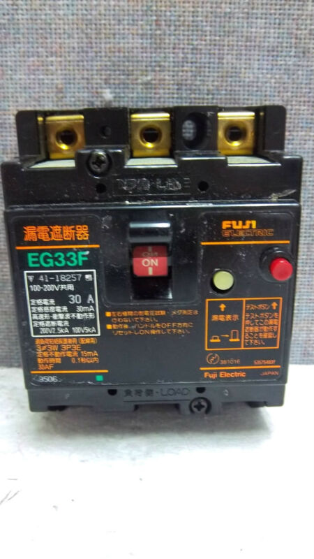 FUJI ELECTRIC EARTH LEAKAGE CIRCUIT BREAKER EG33F USED EG33F
