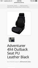 Autotechnica Adventurer 4X4 Outback Seat PU Leather Black Chatswood Willoughby Area Preview