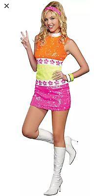 Dreamgirl 60's Flower POWER Sexy Women's Hippie Chic Costume 9466 Size - Hippie Chic Kostüm