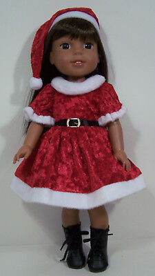 Santa Helper Dress Hat Doll Clothes For 14