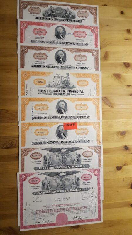 8 historische amerikanische Aktien USA Sammlung