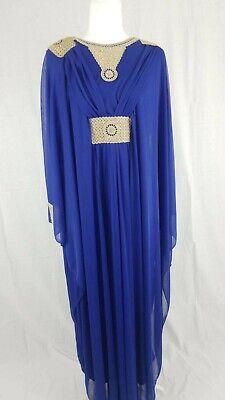 Elegant Long Arab Women's Abaya, Muslim Maxi Dress (Blue, Red, or Pink)