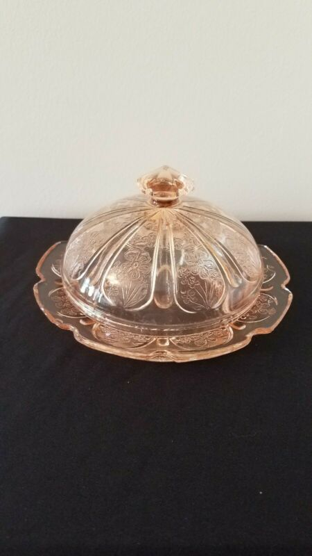 Jeannette Cherry Blossom Pink Glass Round Covered Butter Dish w/ lid