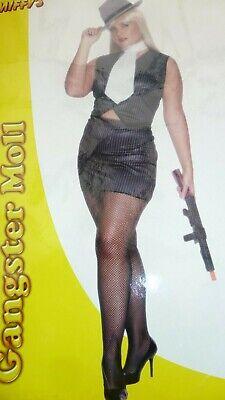 Womens Ladies Plus Size Sexy Gangsters Moll Mafia Pinstripe Fancy Dress Costume