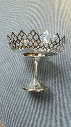 Antique Silver Filigree Pedestal Nut Candy Dish England