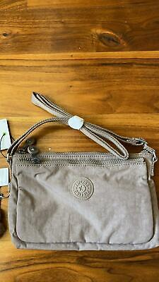 Kipling Purse Handbag Logo Crossbody Beige Nylon