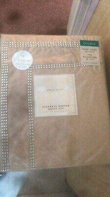 New Karina Bailey Isla cream  Diamante Border Duvet Set Double Size Bedding