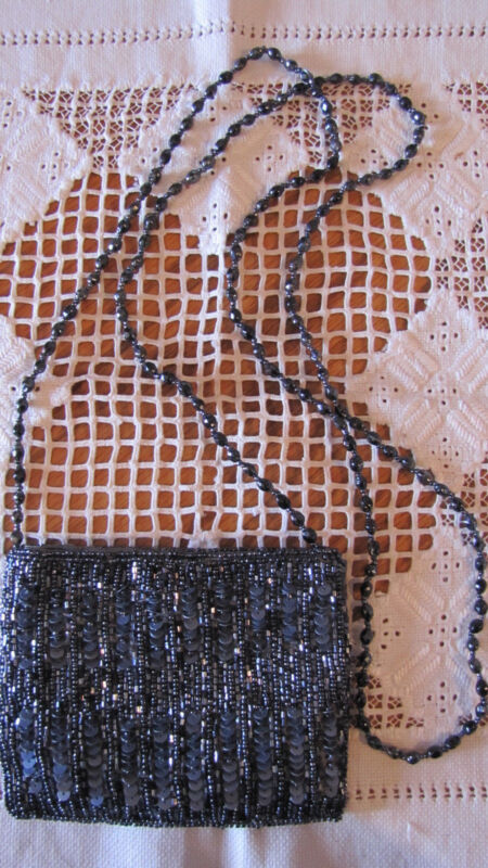 "MOYNA  4"" 5"" INCH VINTAGE BEADED SEQUIN EVENING HANDBAG PURSE Shoulder bag"