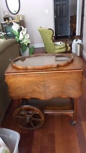 Vintage Tea Wagon and Wooden Glass Tray