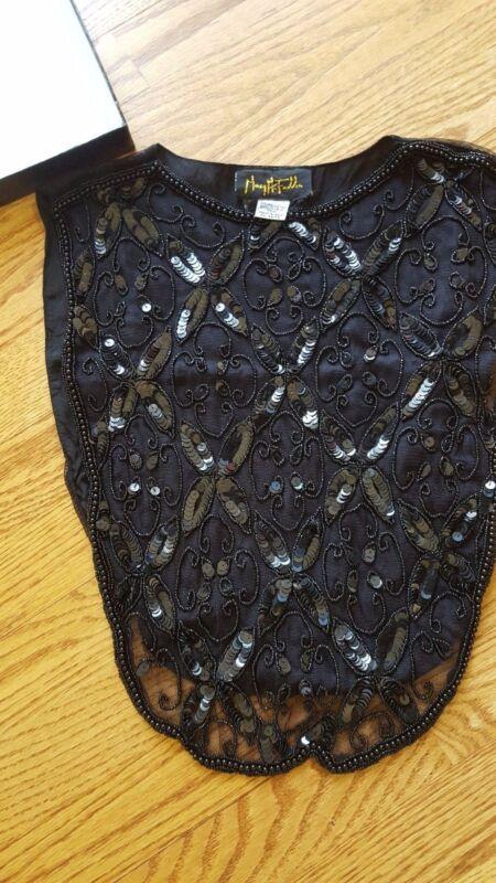 Vintage Mary McFadden Beaded Black Silk Collar Dickie EXQUISITE