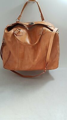 Genuine Leather Tan Duffel Bag Carry-On Luggage 20Wx13Hx8 D - $11.50