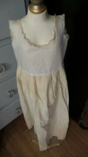 ANTIQUE! COTTON & WOOL INFANT SLIP EMBROIDERED Edge BISQUE  DOLL MATERIALS