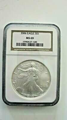 2006 American Eagle One Dollar 1 Ounce Fine Silver Coin NGC MS 69 2 - $40.00