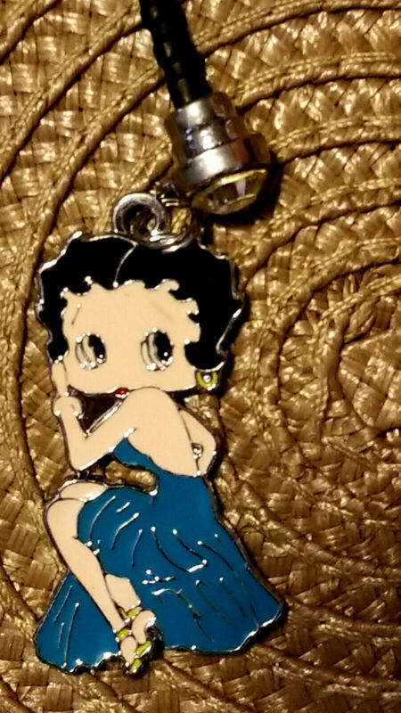 Betty Boop Blue evening gown cell phone dust plug