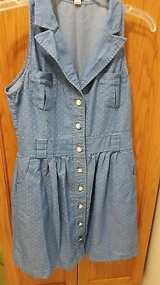 Monteau Chambray Polka Dot Dress -  Size Large