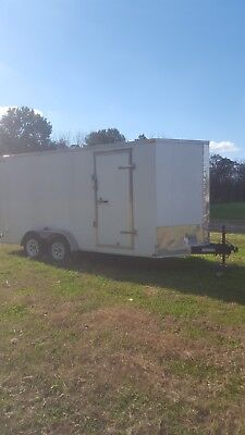 Used 2013 Lark 7x16 7 X 16 V-nose Enclosed Cargo Trailer W Ramp