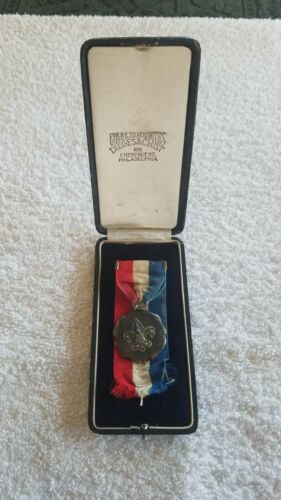 BSA Vintage Silver Dieges & Clust Contest Medal Award Red White Blue Ribbon