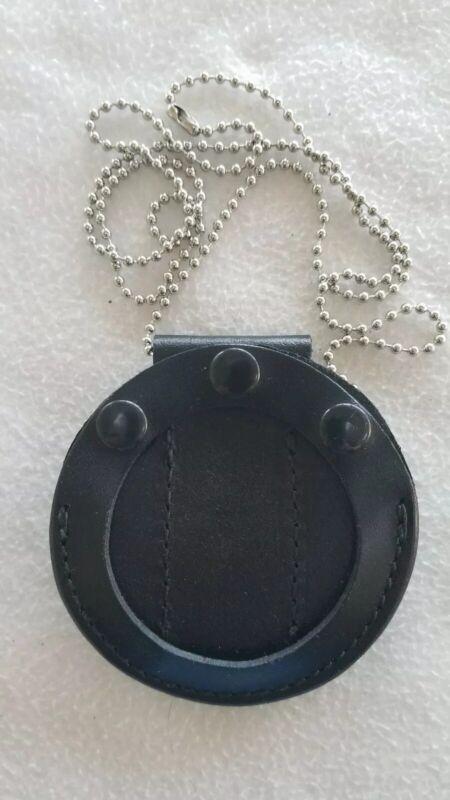 Leather Badge Holder Belt Clip, Chain, Star.  New