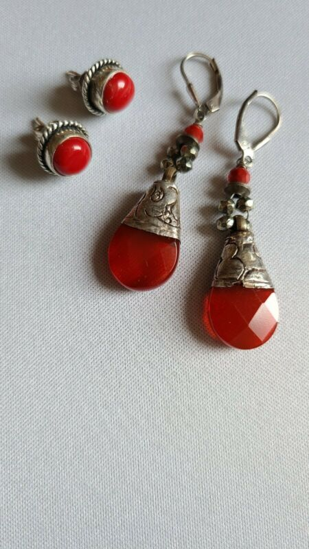 2 vtg 925 STERLING EARRINGS Dangle Stud RED CORAL and RED GLASS / free ship US