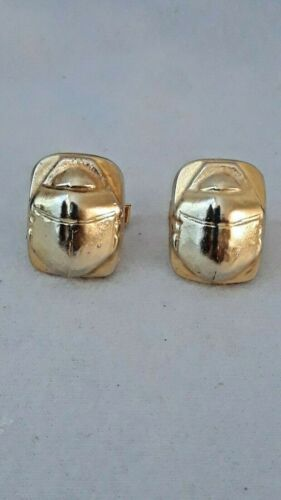 Vintage Museum Replica Egyptian Revival Scarab Gold Plated Cuff Links