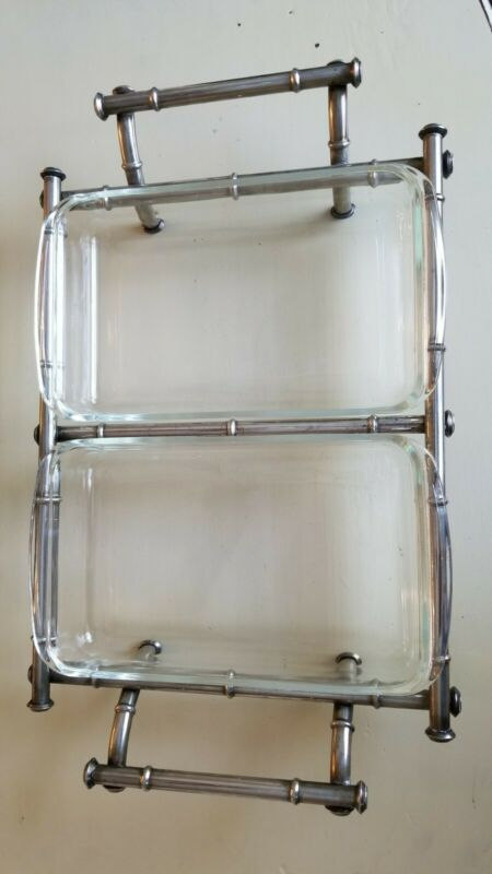 Bamboo MCM Silver Plate PYREX DOUBLE 10 x 6 x 1-3/4 CASSEROLE Server w/Dishes
