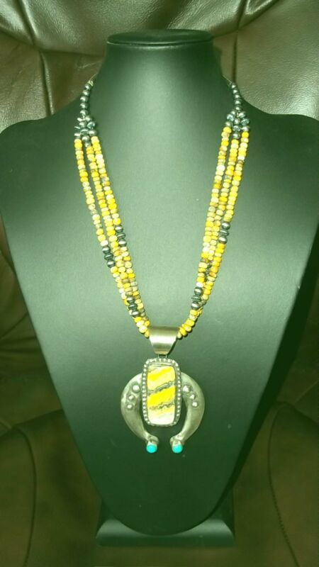 Chimney Butte Bumble bee Jasper pendant and necklace.