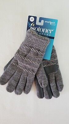 Isotoner Signature women's smartouch Oxford Heather metallic gloves one size