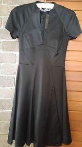 CUE black satin dress size 6 rrp$239 NWT