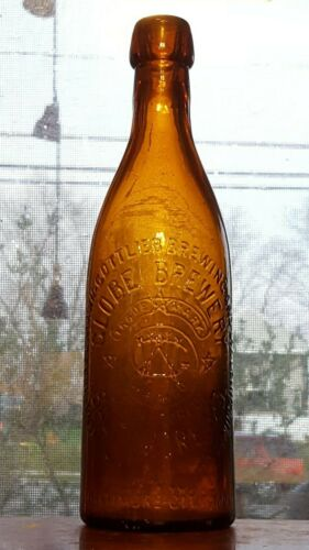 Antique Amber Blob Top Globe Brewery Baltimore Md beer bottle
