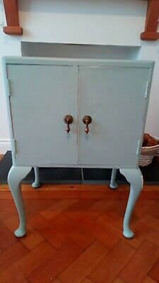 Vintage Shabby Chic Bedside Cabinet with Queen Anne Legs