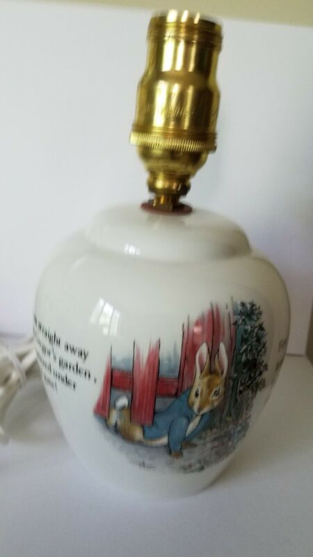 Beatrix Potter Peter Rabbit Nursery lamp without shade. Pristine Condition!