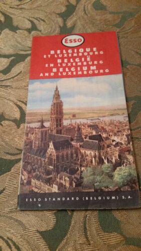 Vintage Esso Belgium & Luxembourg  Map 1951-54