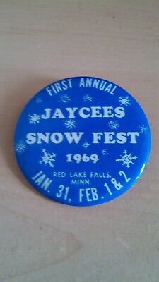 Vintage Collectible Button Pin Back Jaycees Snow Fest Red Lake Falls MN 1969