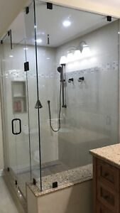 FRAMELESS SHOWER GLASS DOORS OFFICE ENCLOSURES BATHTUB RAILING
