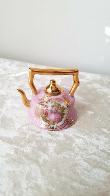 Vintage Limoges Miniature Porcelain Tea Kettle with Fragonard Motif