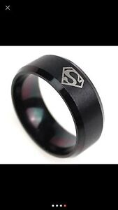 Men's Stainless Steel Superman Ring-Size 10