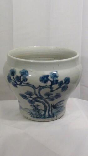 ANTIQUE CHINESE BLUE &WHITE FLOWER POT JARDINIER W/BLOSSOMING PRUNUS BRANCH