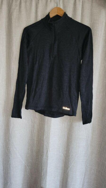 Ll Bean Mid Weight 100% Merino Wool Base Layer Quarter Zip Shirt Size S Mens