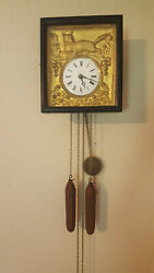Very Nice Antique German Picture Frame Clock, 1800's
