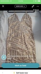 Gold sequin dress small