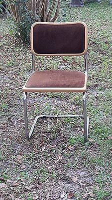 Wonderful  CESCA SIDE CHAIR MARCEL BREUER Rare Corduroy FABRIC SEAT & BACK  ()