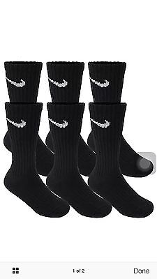 Nike Performance Cotton Cushioned  Men/'s Crew Black Socks 6 Pairs Size 8-12(L)