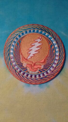 Grateful Dead Orange Sunshine Steal Your Face 3.5 Inch Iron On Patch