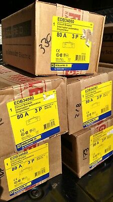 Square D Edb34080 3pole 80amp 480v Circuit Breaker New In Box 1 Year Warranty